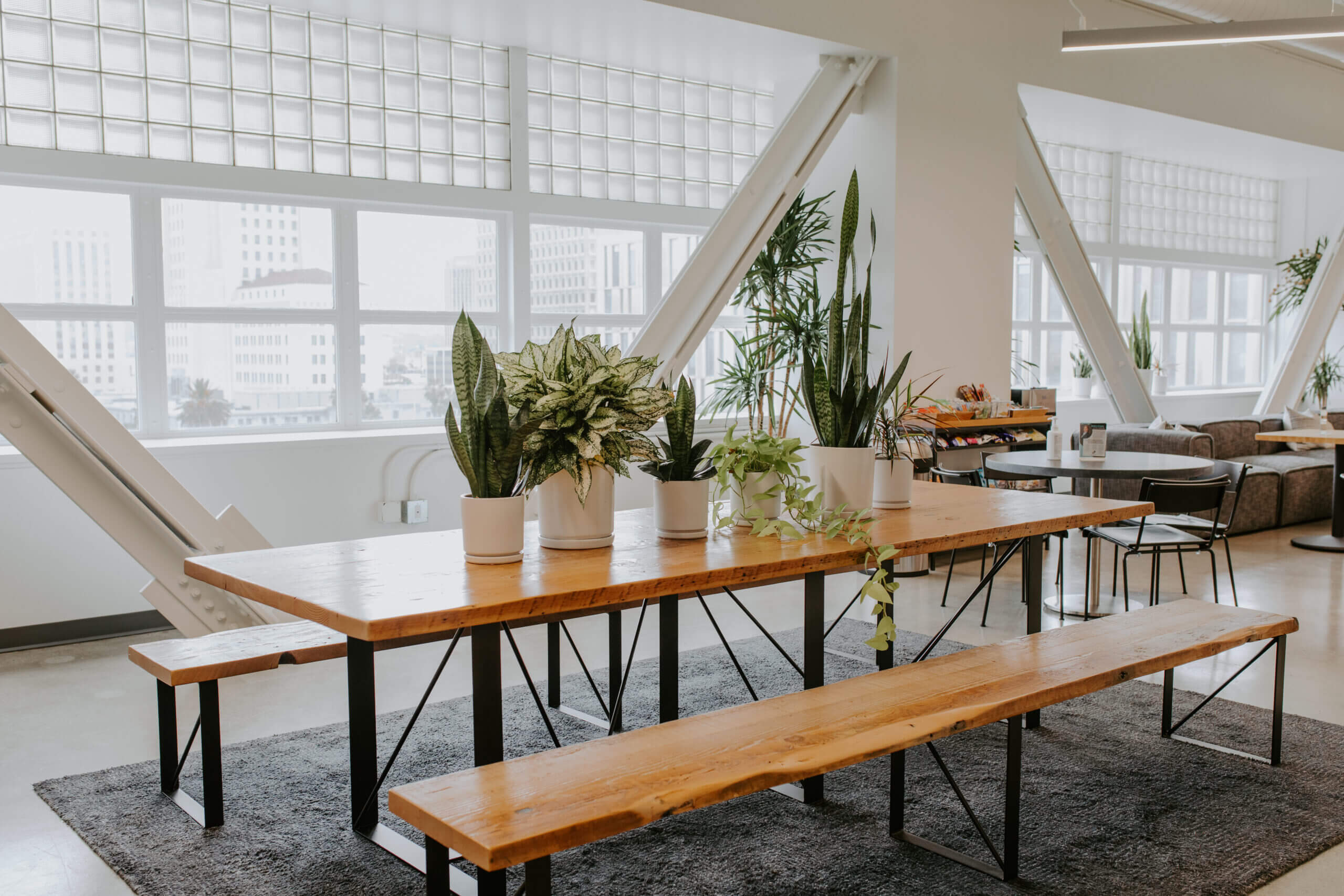 Justice HQ DTLA community space with window view