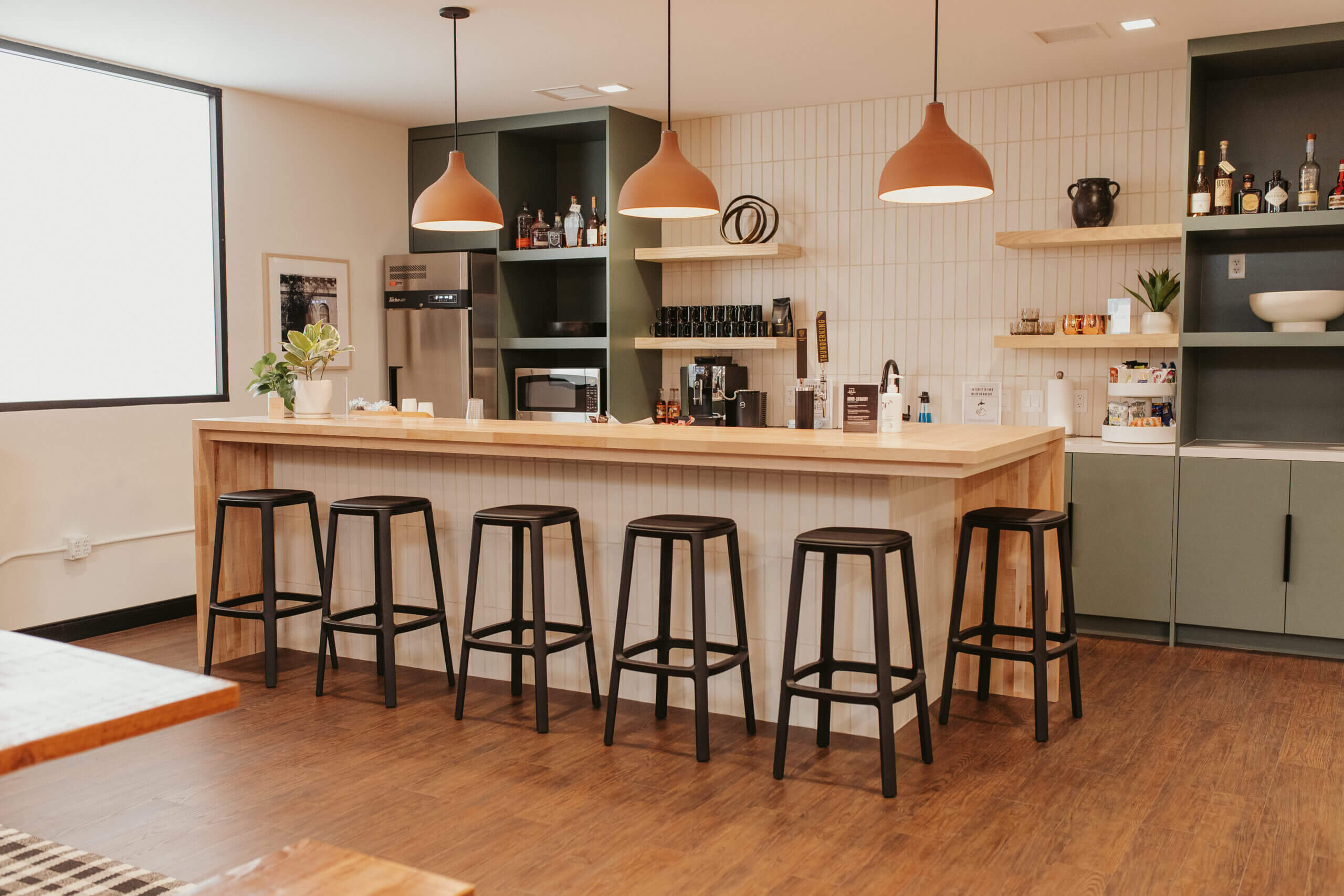 Justice HQ OC kitchen and bar